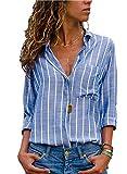 AitosuLa Bluse Gestreift Damen Hemd Oberteile V-Ausschnitt Lose Casual Chiffon Langarm T-Shirt Top Tunika Elegant Langarmshirt Streifen Blau Weiß M