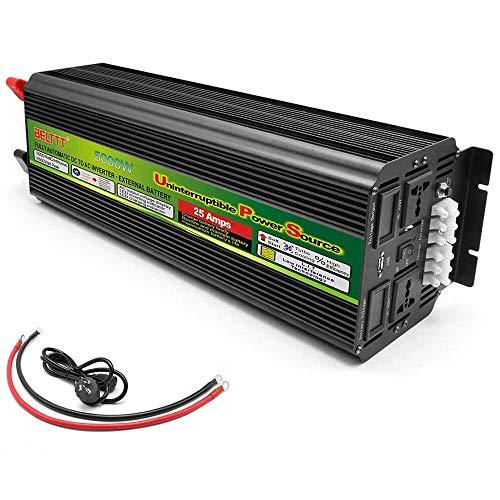 QTCD Convertidor inversor de Corriente 5000W (Pico 10000W), inversor de Onda sinusoidal Pura, convertidor de Voltaje DC 12V / 24V a AC 220V, Cargador con conexión USB y Pantalla LED, 12V a 220V