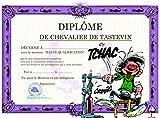 Gaston Lagaffe GLDP-7023 Carte double avec enveloppe Diplôme du Chevalier du Taste-Litre - Ouvre Bouteille Vin Rouge Grand Cru Tire Bouchon Alcool Bar à vin Dégustation Soirée Amis Famille