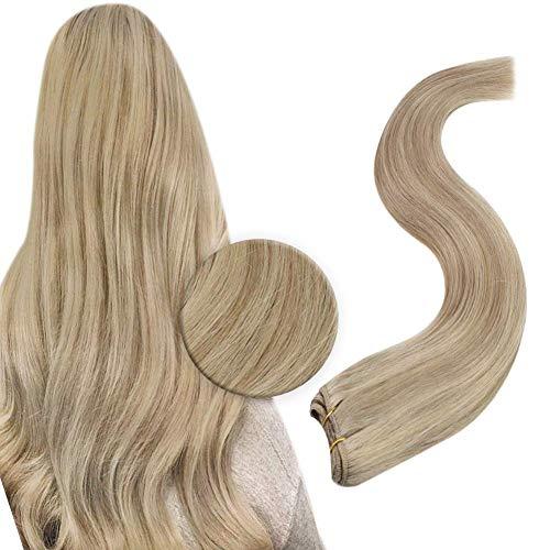 JoYoung Sew in Weft Hair Extensions Human Hair 16inch Blonde Hair Wefts Human Hair Sew in Extensions Highlights Dark Ash Blonde with #22 Blonde Weft Hair Bundles Human Hair 100gram