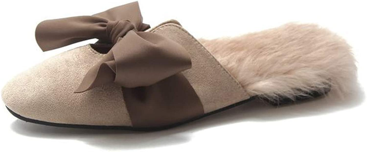 Women's Slippers Bow Plush shoes Close Toes Outdoor Slippers Non-Slip Autumn Winter Home shoes