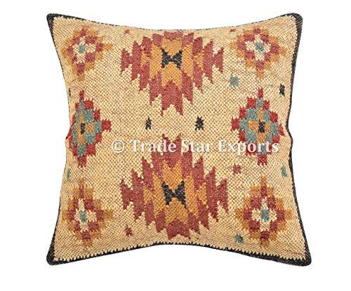 Trade Star Exports Almohada Kilim hecha a mano, funda de cojín india 45,7 x 45,7 cm, fundas de almohada decorativas de yute para exteriores, fundas de almohada bohemias