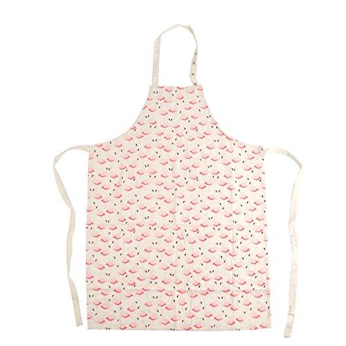 Pink Papaya Schürze, Kochschürze für Frauen und Männer aus 100% Baumwollleinen, Küchenschürze Pia, Farbe: beige mit Flamingos