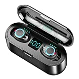 Wireless Bluetooth 5.0 Earbuds TWS Earphones Stereo Headphones Compatible with All Phones and Devices Supper Sounding Noise Cancelling Auto Pairing Touch Control Charging Box 2000 mAh (Black)