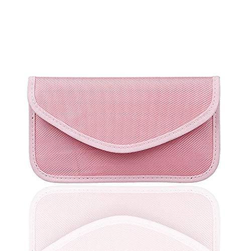 Bolsa de bloqueo de señal RFID para llave bloqueador de señal Jammer Signal Shielding Wallet Case Faraday Bag para protección de privacidad del teléfono celular y llave de coche FOB (rosa)