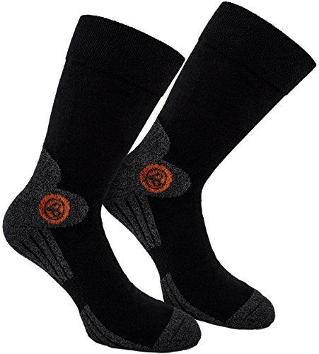 BRUBAKER Lot de 4 Paires de Chaussettes Trek-Power - Noir Gris avec Logo d'orange - EU 43-46