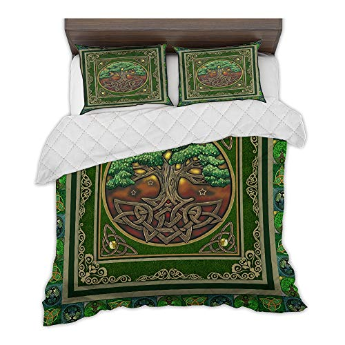 zbigtee St.Patrick's Day Irish Celtic Tree QBS Comfy Funny Bed Quilt Bed Set Bedding Set Irish (Green, Queen (79' x 91'))