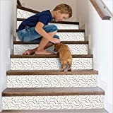 Cosaving Stair Stickers Peel and Stick Staircase Tiles Decals Stair Riser Stickers Self-Adhesive Backsplash Tiles Decals Removable, 7'x39', 6 Pcs/Set, White Lines'