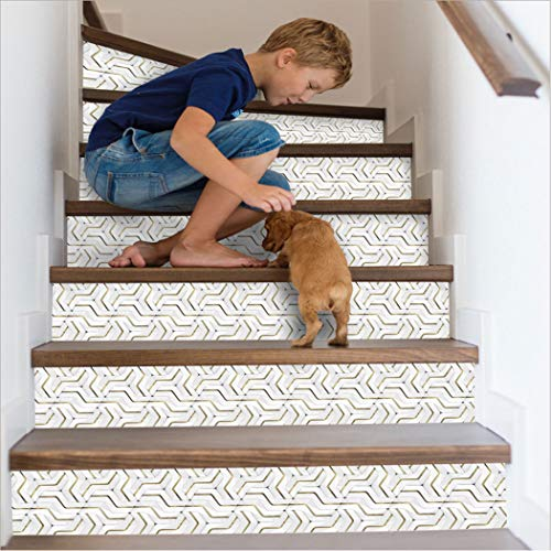 Cosaving Stair Stickers Peel and Stick Staircase Tiles Decals Stair Riser Stickers Self-Adhesive Backsplash Tiles Decals Removable, 7