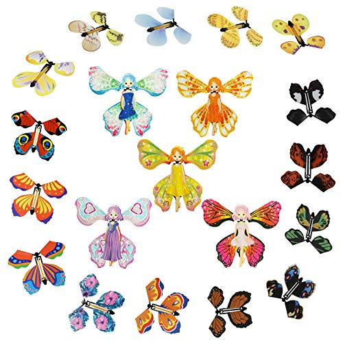 GIFZES Magic Flying Butterfly Wind Up Toys,Magic Fairy Flying Butterfly Rubber Band Powered Wind up Butterfly Toy,Wind Up Butterfly in The Book, for Birthday Wedding Christmas Surprise