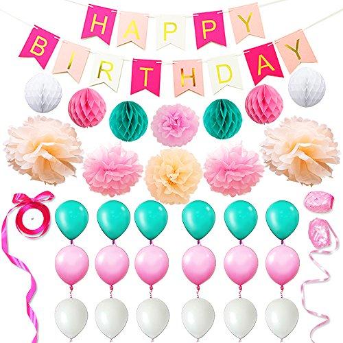 Eightnight Juegos de Papel para DIY Feliz cumpleaños Decoraciones Incluyendo Banner, Papel de Tejido Honeycomb Pom Pom Ball linternas, Flores, Cintas, Globos