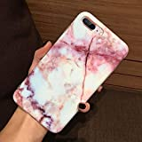 J.west Phone Case Compatiable with iPhone 8 Plus, iPhone 7 Plus, Marble Printed Clear Bumper Slim TPU Soft Rubber Cover Anti-Scratch Thin Back Protective Phone Case Cover for iPhone 7 Plus/8 Plus