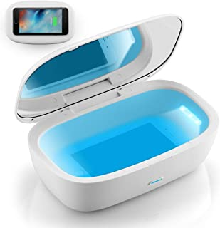 UV Light Sanitizer Box with Wireless Charger, Portable UVC Sanitizer Disinfection Box for Cell Phone, Makeup Tools, Glasse...