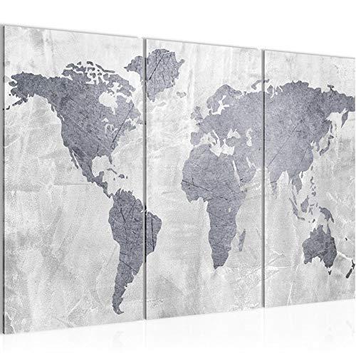 Runa Art Weltkarte Bild Wandbilder Wohnzimmer XXL Grau Landkarte Beton 120 x 80 cm 3 Teilig Wanddeko 104331c