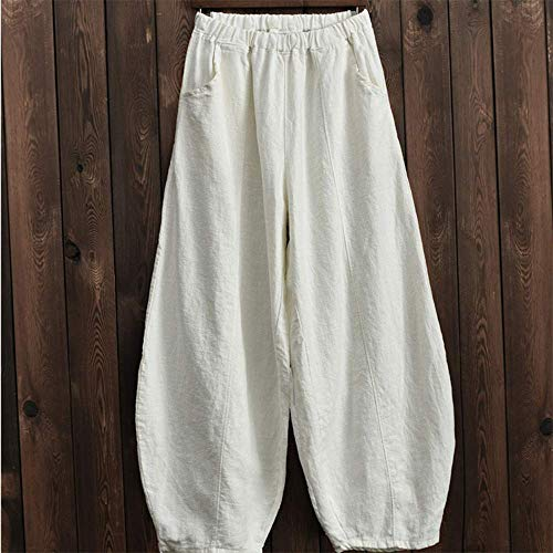 GCE Pantalón Capri de Pierna Ancha de Lino de algodón para Mujer Pantalón de Linterna con Ajuste Relajado Informal CL