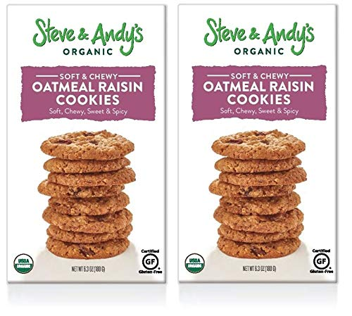 Steve & Andy's Organic and Gluten Free Cookies (Oatmeal Raisin, 2 Boxes)