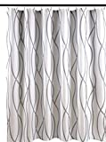 Biscaynebay Duschvorhang, extra lang, strukturierter Stoff, 183 cm breit x 213 cm lang, silbergrau bedruckt