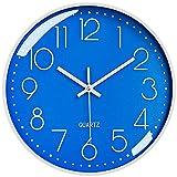 LiRiQi Reloj de Pared Moderno, 30 cm Grandes Decorativos Silencioso Interior Reloj de Cuarzo de Cuarzo Redondo No-Ticking para Sala de Estar, para Cocina Dormitorio Escuela Oficina (Azul)