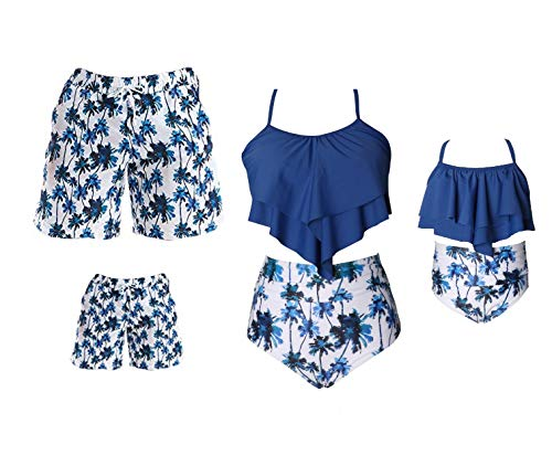 Family Matching Swimwear Set Mother Daughter Bikini Swimsuits Father Son Swim Trunk Bathing Suit (8-12 Years, Boys)