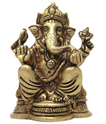 Lord Ganesha Sitting on a Decorative Base Idol Brass Metal Statue Murti for Puja Mandir 3.25x2.25x1.75 inches; 380 Grams