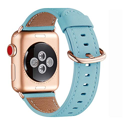 WFEAGL Kompatibel für Watch Armband 38mm 40mm 42mm 44mm,Top Grain Lederband Ersatzband mit Edelstahl-Verschluss Kompatibel für Serie 5/4/3/2/1(38mm 40mm, Tiffany Blau+roségold Adapter)