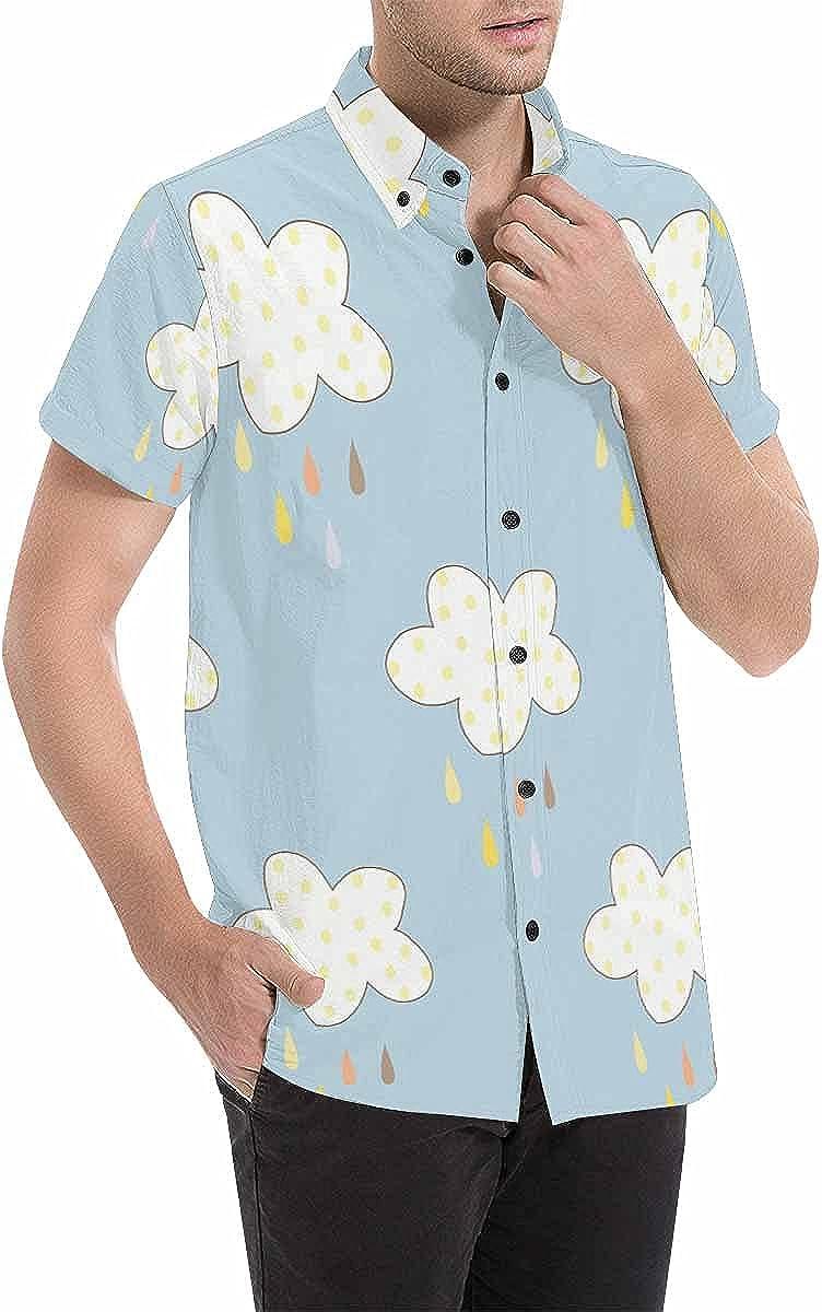 InterestPrint Colorful Monster Men's Hawaiian Short Sleeve Summer Button Down Shirt