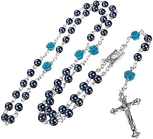 YOUZYHG co.,ltd Collar Collar Mujer Hombre Santo Jesús Collar de Perlas de imitación Collar de Cuentas de Plata Gota de rosarios Cruz Centro de la Virgen María para Mujeres Hombres Collar de Regalo