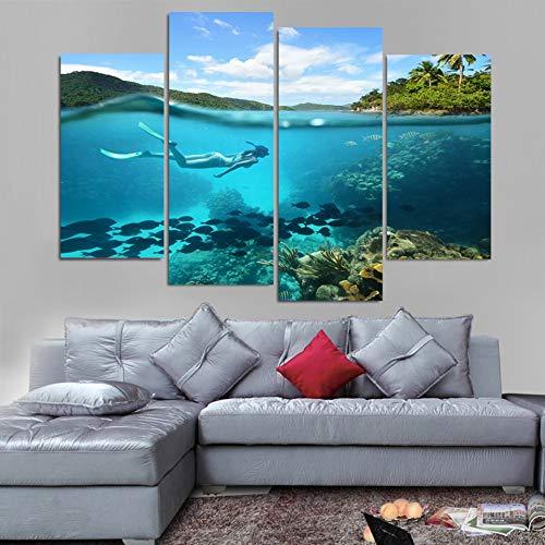 UDPBH 4 Platten Gedruckt Fische Bild Große Leinwand Malerei Tauchen Für Schlafzimmer Wohnzimmer Home Wall Art Decor
