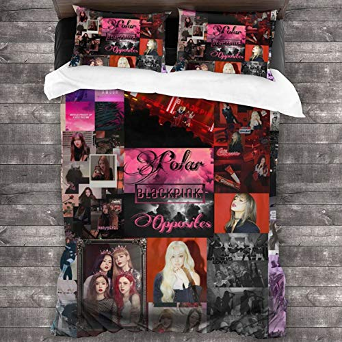 Bibuwaw Blackpink - Jennie Jisoo Lisa Rose Photo Album Wall Red 3-Piece Bedding Set, Includes a 70 x 86 Inch Bed Sheet and 20' x 30' Pillowcases, King Soft Colorfast
