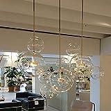 RUCIEDG Lampadario Bubble Ball, Paralume in Vetro Trasparente di Alta qualità in Ferro Battuto con Luce Decorativa A LED, Luce Decorativa A Bolle di Sapone (Size : 4 Ball)