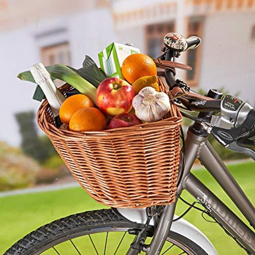 3 Pagen Fahrradkorb vorne aus Weide, abnehmbar, einfache Befestigung mit 2 Kunstleder-Riemen, Lenkerkorb, Einkaufskorb