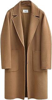 Runyue Womens Winter Lapel Coat Trench Jacket Long Sleeve Turn-Down Collar Overcoat Outwear