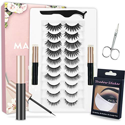 New 3D 6D Magnetic Eyelashes kit,2 Magnetic eyeliners and Ten Pairs of Sustainable Magnetic False Eyelashes, Eye Shadow Stickers and Beauty Scissors