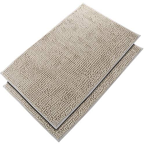 DLOPK Alfombra De Baño Tacto Suave Antideslizante Alfombrilla Microfibra Suave Antideslizante Alfombra de Ducha (Gris-Plata 50x80cm 2 Pack)