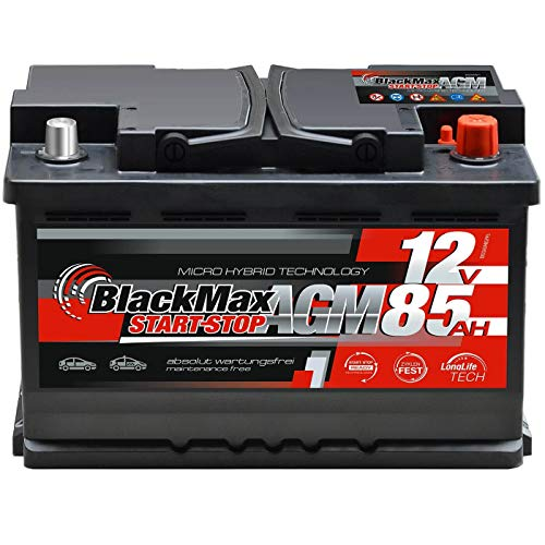 BlackMax AGM Autobatterie 12V 85Ah Start-Stop Batterie VRLA ersetzt 80Ah 75Ah