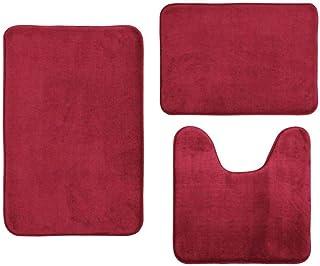 Dolloress Christmas Best Gift Memory Foam Toilet Bath Mat Set Including 1x U Shaped Area Rug and 2X Floor Mat Non-Slip Wat...