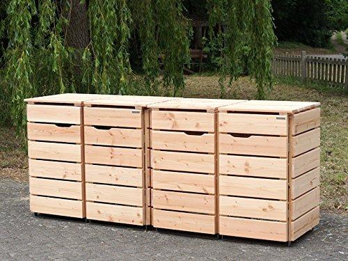 4er Mülltonnenbox / Mülltonnenverkleidung 120 L Holz, Douglasie Natur - 3