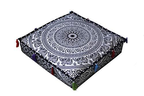 Ababilart Mandala Zafu Meditation Cushion Pillow Square 20X4 Inche Floor Pillow Cover Pouf Cushion Cover Thorow