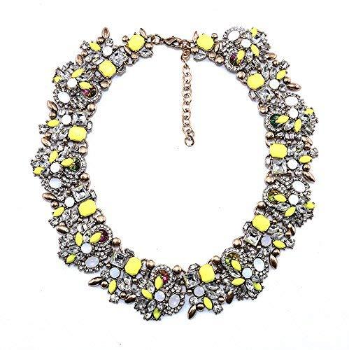 Vintage-Halskette in Blumenform, goldfarben, Halskette aus Kristallglas, mehrfarbig, Halskette