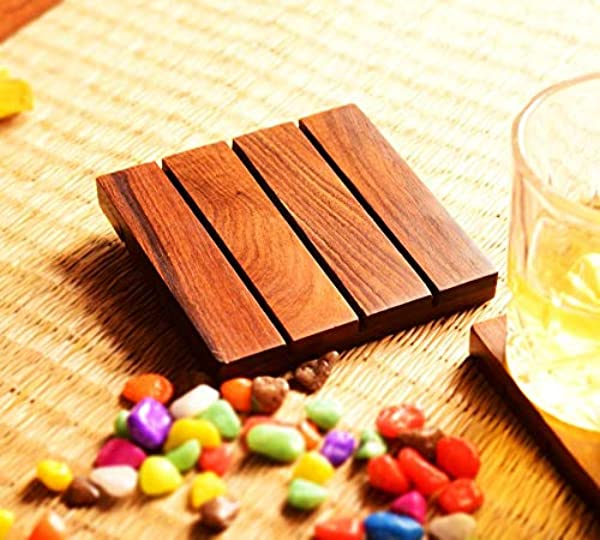Hashcart Natural Sheesham Wood Coasters For Beer Cans Coffee Mugs Set Of 2