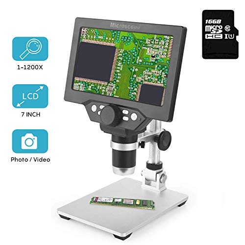 LCD Digital Microscope 7 in HD Screen 1200X Magnification Zoom Camera Video Recorder Angle Adjustable Microscope, 8 LED Lights, Built-in 3000 mAh Battery Rechargeable (7 inches with 16G SD Card)