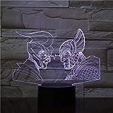 Ancient Greek Roman Warriorss 3D Night Light USB LED Lámpara de mesa Multicolors Lighting Visual Touch Cool Figure Kids Toys 2484