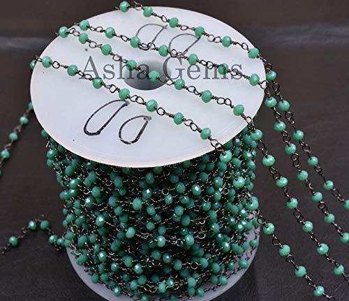 Shree_Narayani Cadena de rosario con cuentas de Rondelle, de color verde claro, de 3 a 3,5 mm, chapado en negro, para hacer joyas, cadena de 3 a 3,5 mm