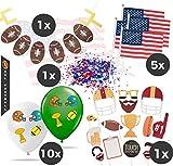 TK Gruppe Timo Klingler XXL Super Bowl American Football NFL Dekoration Deko Set über 100 Teile, Luftballons, Girlande, Konfetti UVM. (Set XXL)