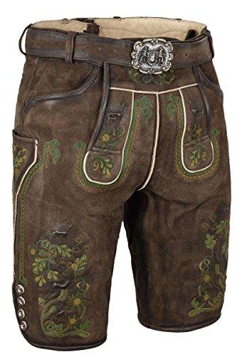 Almsach Herren Herren Lederhose mit Gürtel kurz Braun mit grüner Stickerei, 215GF-MULTIGRÜN (braun), 52