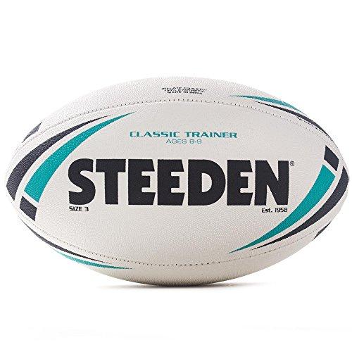 Steeden Classic Trainer Rugby-Ball, Weiß, weiß/grün, 5