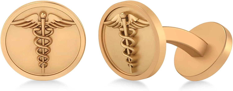 14k Gold Caduceus Medical Symbol Cufflinks