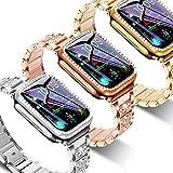 Bracelet + coque pour Apple Watch 40 mm, 44 mm, 38 mm, 42 mm - Bracelet en acier inoxydable avec...