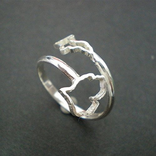 Handmade 925 Sterling Silver Michigan Upper & Lower Peninsula State Hometown Long Distance Ring