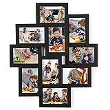 SONGMICS Cornici Foto con 10 Posti, 10 x 15 cm per Ogni Foto, Cornici Foto Collage, da Montare, MDF Nero RPF20BK